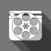 Flat long shadow cinema icon slate and reel poster