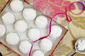 Christmas butter cookies with white sugar powder in a box