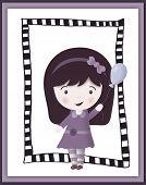 Cute little girl in frame - scrapbook card - illustration poster