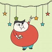 Merry Christmas celebration with bulky cartoon man dancing and holding burger on stars decorated background. poster