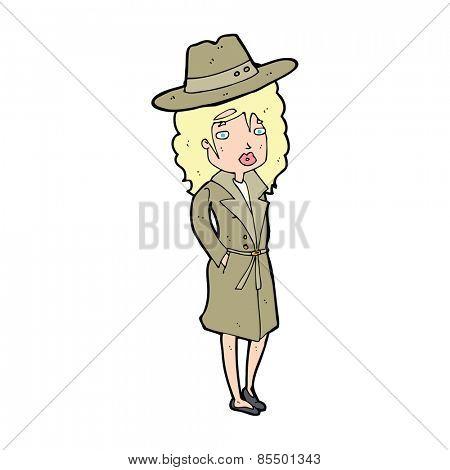 cartoon woman wearing sensible hat