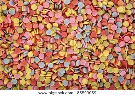Medicament drugs tablets colorful pile