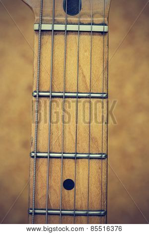 Close up macro of guitar strings vintage style poster