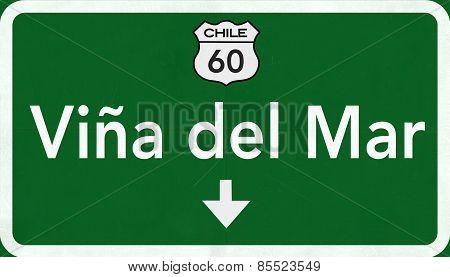Vina Del Mar Chile Highway Road Sign 3D artwork poster