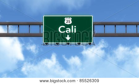 Cali Colombia Highway Road Sign 3D artwork poster