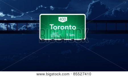 Toronto Transcanada Canada Highway Road Sign at Night