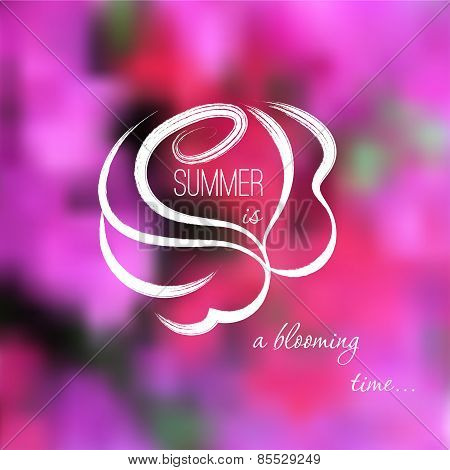 Hand drawn rose on a pink flowers blurred background