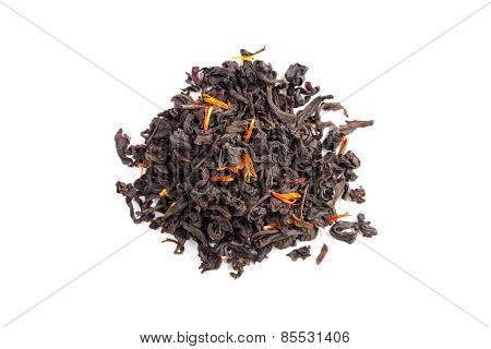 Tea With Safflower And Hibiscus Petals Isolated On White