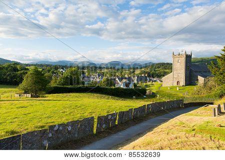Beautiful Lake District village of Hawkshead England uk summer day a popular tourist destination