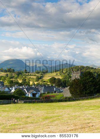 Hawkshead village Lake District National park England uk on a beautiful summer day