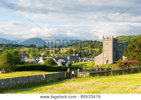 Hawkshead Lake District England uk on a beautiful summer day with red roses