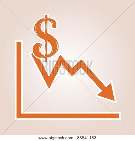 Decreasing Graph With Dollar Symbol