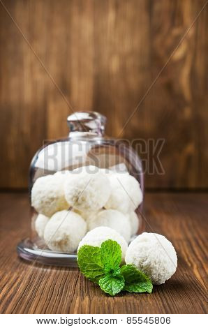 Coconut Candy In Glass Dish