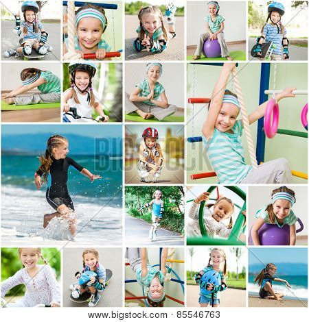 Photo collage of a little girl playing sports in the gym and on the street