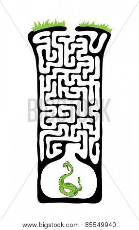 Vector Maze, Labyrinth education Game for Children with Snake