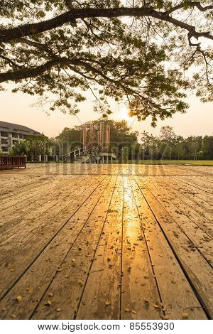 Reflection Of Sunset Upon Wooden Floor