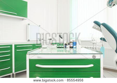 Dentist cabinet, medical bottle