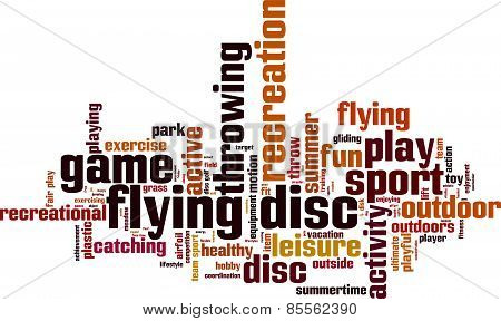 Flying disc word cloud concept. Illustration isolated on white poster