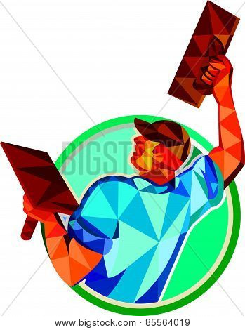 Low polygon style illustration of a plasterer masonry tradesman construction worker raising up trowel over head viewed from the back set inside circle done on isolated background poster