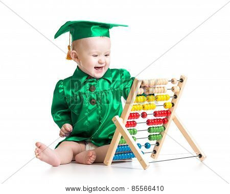 Baby with counter toy. Concept of early learning child