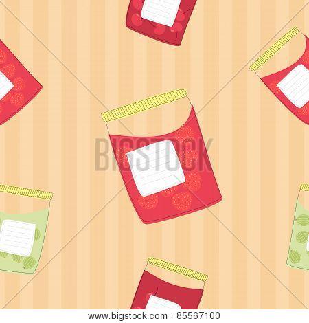 Jars with jam, seamless pattern