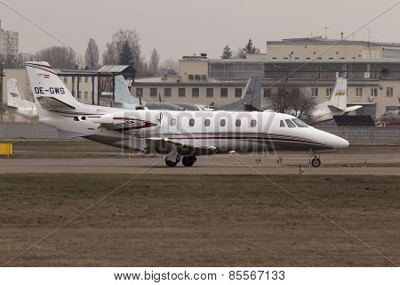 Cessna 560XLS Citation Excel business aircraft preparing for take-off from the runway