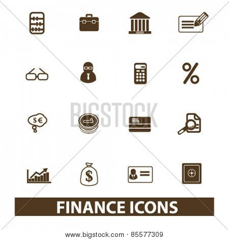finance, bank, money isolated icons, signs, illustrations collection concept design set for web and application on background, vector