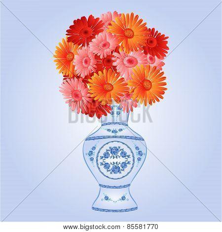 Gerbera In Faience Vase Festive Background Vector