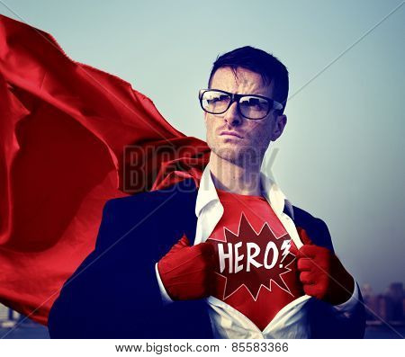 Superhero Businessman Hero Comic Explosion Concept
