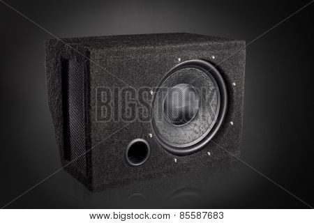 Black subwoofer speaker car audio music system