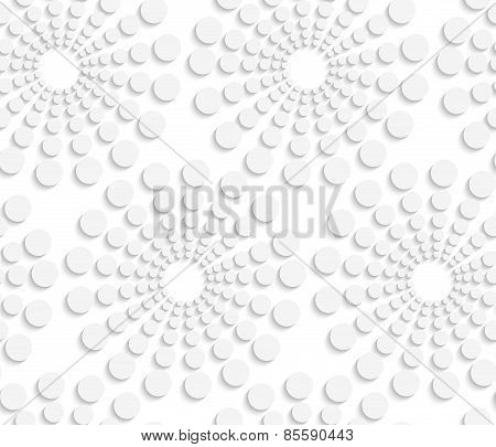Geometrical Pattern With White Dotted  Concentric Circles On White
