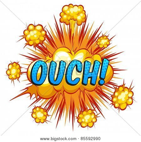 Ouch expression with cloud explosion background