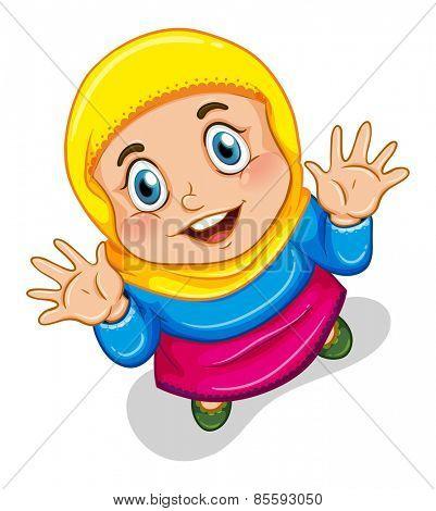 Close up happy muslim girl smiling