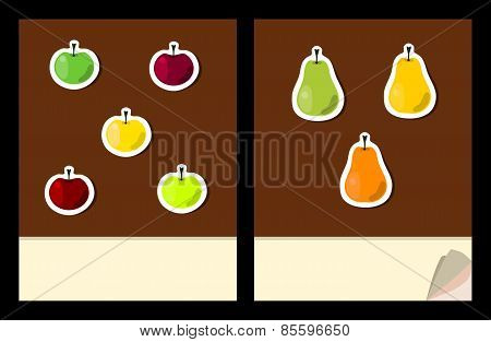Workbook cover template with fruit stickers