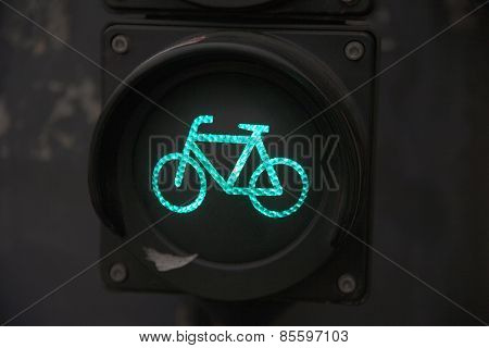 Traffic Light With Bike Sign For Cyclists. Close Up