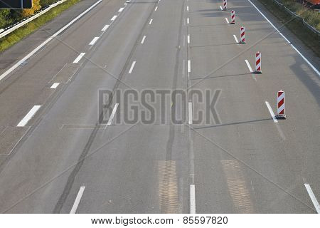 empty 8-lane highway due to road works