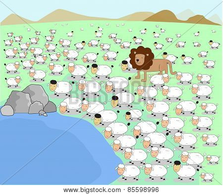 Vector Illustrator Animal Lion Herd Sheep Lamb Pond Concept