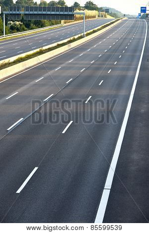 empty eight-lane highway due to road and bridge works poster