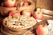 Rustic apple pie prepared with ripe apples for Thanksgiving in kitchen setting poster