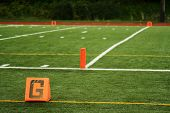 The goal line on a football field poster