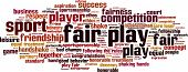 Fair play word cloud concept. Illustration isolated on white poster