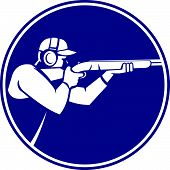 Icon illustration of a man with shotgun shooting aiming in trap shooting sport viewed from side set inside circle on isolated background done in retro style. poster