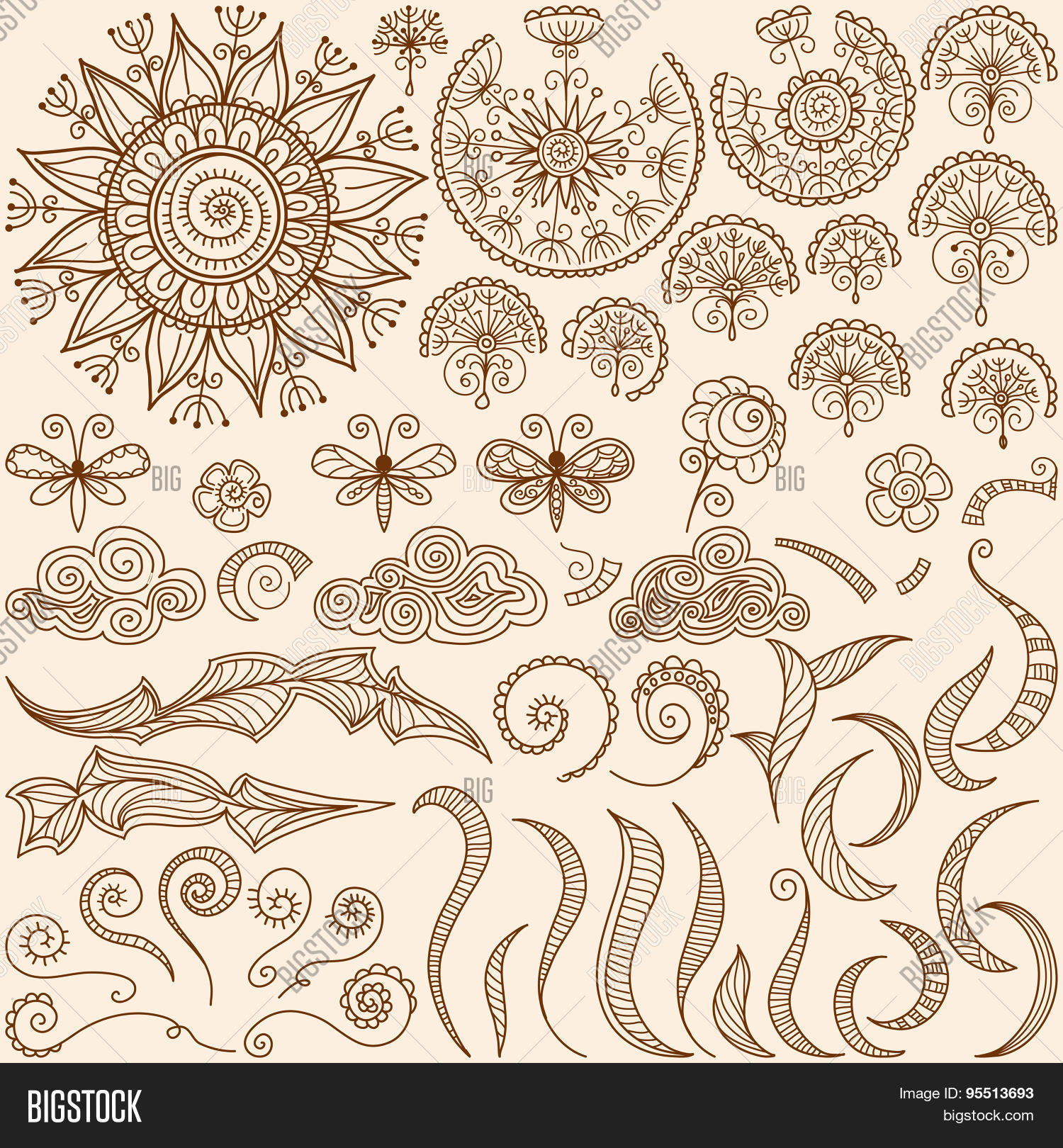 Vector Set Henna Vector Photo Free Trial Bigstock