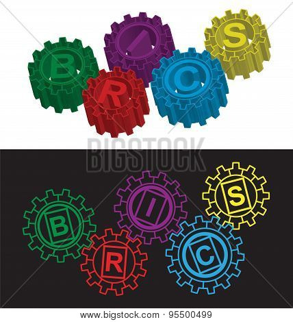 BRICS stylized symbol of gears. Vector illustration