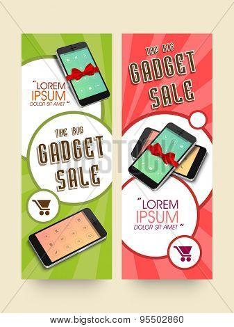 Gadget sale website header or banner set with smartphone. poster