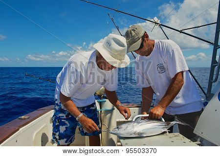 People fix tuna fish as a bait for marlin fishing at sea near Saint-Denis, Reunion island.