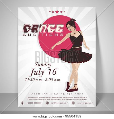 Dance audition flyer with dancing girl, place holder, address bar and mailer.