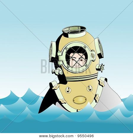 diver on the surface of the ocean