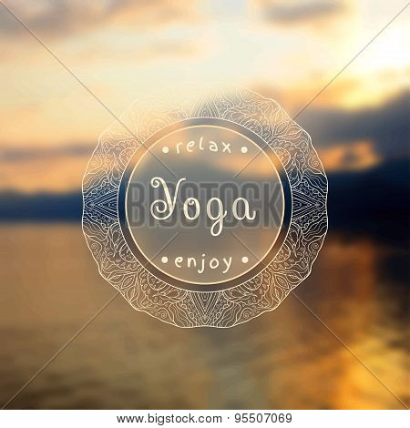 Poster for yoga class with a sea view.