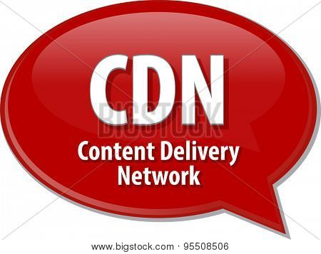 Speech bubble illustration of information technology acronym abbreviation term definition CDN Content Delivery Network